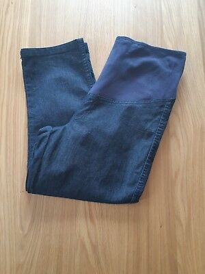 Target LadiesCropped Maternity Denim Look Pants Size 10 Excellent Condiiton
