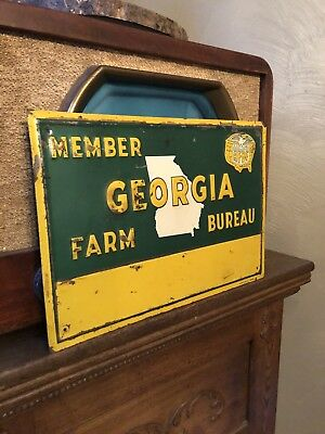 Farm Bureau Sign Advertising Farming No Trespassing Vintage Signs