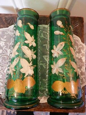 Antique Victorian Emerald Green Glass Vases Applied Frill Hand Painted Pair 24cm