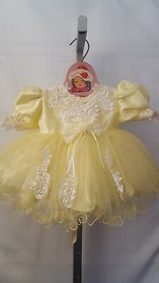 "VTG USA MADE ""La-di-da!!"" INFANT GIRL YELLOW FRILLY FULL PARTY PAGEANT DRESS 12M"