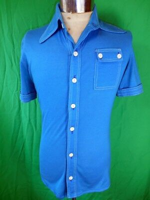 Vintage 1970s Blue Poly/Viscose Short Sleeve Body Shirt Disco Party SM Small