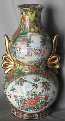 Large Canton rose famille vase double gourd 19th century China export Porcelain