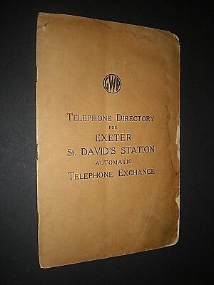 GWR TELEPONE DIRECTORY 1942. EXETER St. DAVID'S STATION. GREAT WESTERN RAILWAY