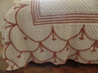 Vintage chenille Bedspread ~ Coverlet ~ Cutter??