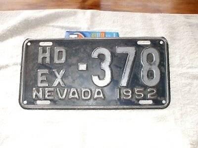 Nevada 1952 HD EX  license plate