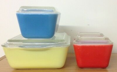 Vintage Pyrex Primary Colors Refrigerator Dishes 501-501-502-503 w/ 3 Lids