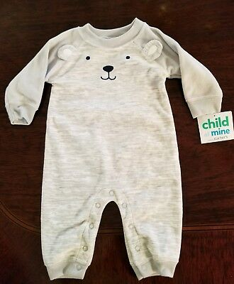 NWT Child Of Mine by Carter's Baby Boy Bear Faced Onies with Ears  0 -3 Months