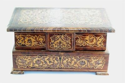 Victorian Inlaid Wood Jewelry Box w Compartments Bird Flower