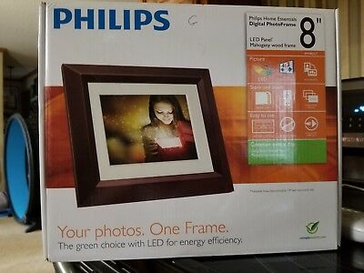 "Phillips Digital Photo Frame 8"" LCD Panel With Brown Wood Frame SPF-3480t/g7"