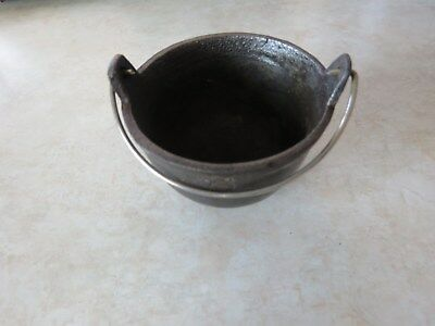 Vintage 3 Legged Cast Iron Kettle Ash Tray With The Letter W & Wire Handle