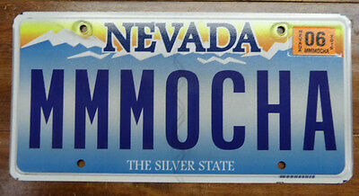 "Scenic Nevada Personalized, Chocolate Or Coffee Lovers License Plate ""mmmocha"""