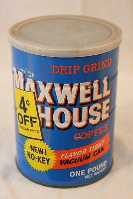 Vintage Maxwell House Coffee Can Tin 1 Lb Empty