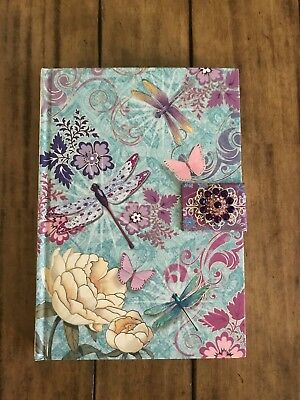 NEW beautiful blue floral & butterfly lined journal with magnetic closure