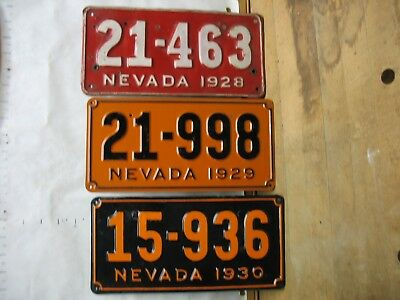 1928, 1929 & 1930 NEVADA x 3X License Plates Tags