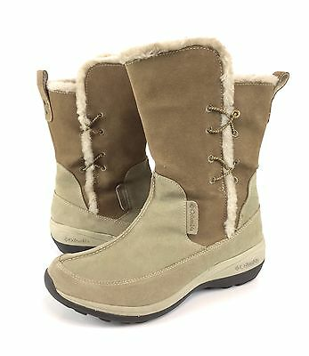 Columbia Delancey 10 Beige Brown Suede Faux Fur Water Resistant Winter Boots