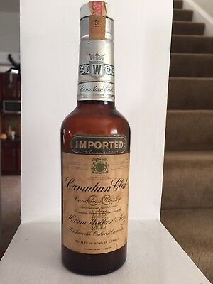 VINTAGE 1974 CANADIAN CLUB WHISKEY BOTTLE 9 Inches High