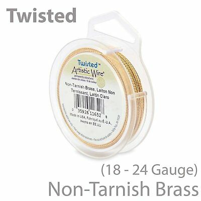 Artistic Wire Tarnish Resistant Brass Twisted Craft Wire 18, 20, 22, 24 Gauges