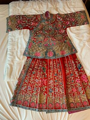 Antique Red Silk Embroidered Chinese Robe Gold Silver Thread Skirt Panels Rare!