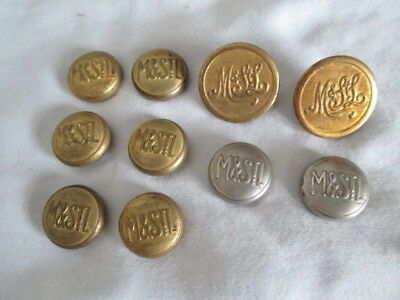 10 Old M&STL Buttons *Vintage Railroad Collectible