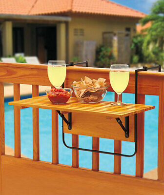 Outdoor Wood Folding Deck Table Deck Porch Railing Rail Pool Barbecue Party Tray