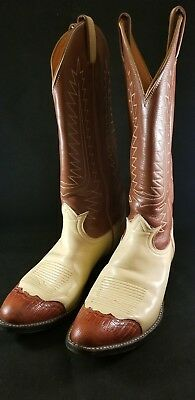Vintage Tony Lama Women's Boots 8B Brown and Cream Ex Condition
