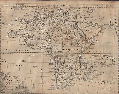 1750-60: Historic Map By Cartographer Jeffery Of Africa And Middle East