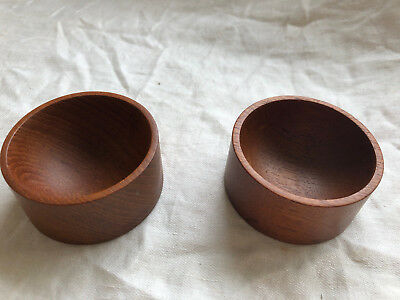 "Pair of Mid-Century Denmark Small 2 1/2"" Wide Teak Bowls"