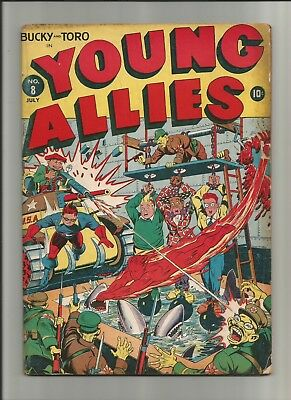 Young Allies #8 1943 Timely Comics Alex Schomburg Cover WWII Japanese Mid Grade