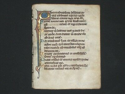 RARE Early Illuminated Medieval Manuscript Vellum Breviary Leaf w/ Gold, ca.1250