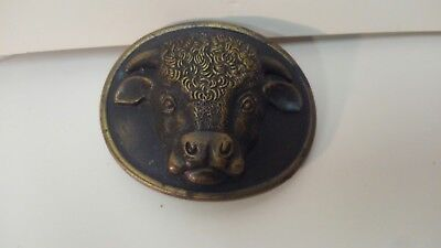 Vintage Malcolm Hereford Cows Cocktails 1975 Myers-Suzio Brass Belt Buckle t2467