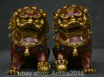 "5"" Old China cloisonne Copper Fengshui Foo Fu Dog Guardion Lion Statue Pair"