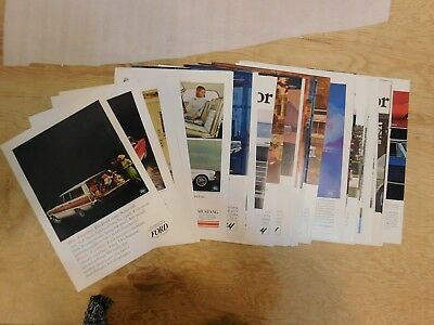 Lot of 33 1965 Ford Print Ads Mercury Lincoln Mustang T-bird Galaxie more