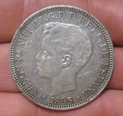 Puerto Rico - 1895 Large Silver Peso - Nice Coin!