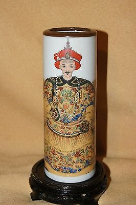 Chinese Cylindrical Vase with Scholar, Calligraphy & Guangxu Maker Mark