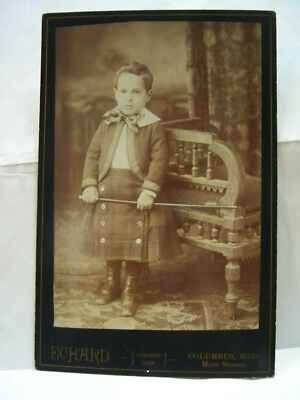 Antique Cabinet Card Young Child Boy Walking Stick And Pladd Skirt Studio B/W