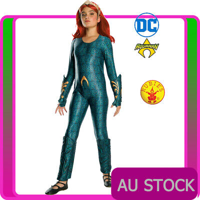 Girls Deluxe Mera Aquaman Superhero Movie Film Fancy Dress Costume Outfit
