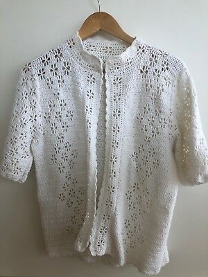 Vintage Short Sleeve Knitted Crochet Cardigan White Size to Suit 6-10