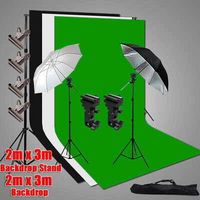 2X3M Black White Green Backdrops Photo Studio Umbrella Flash Lighting Stand Kit