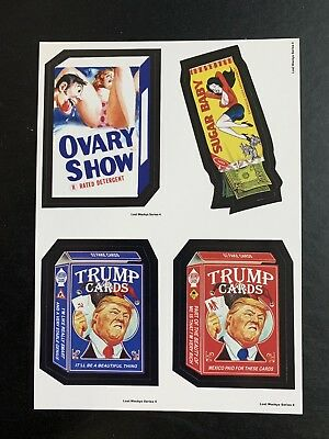LOST WACKY PACKAGES Series 4 QUAD BLOCK Ovary Show & Sugar Baby & Trump