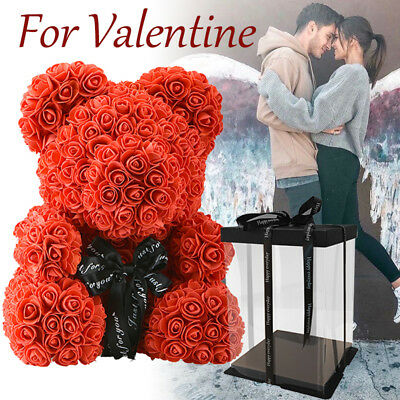 WR Red Rose Bear Flower In Box Gifts For Wedding Birthday Valentine Gift