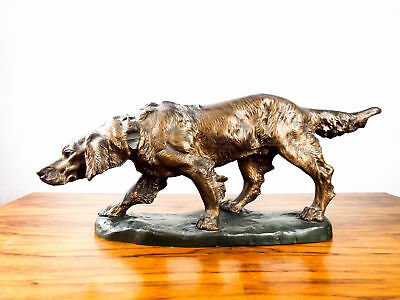 Antique19th C Bronze Sculpture Thomas Cartier Hunting Dog French Decorative Art