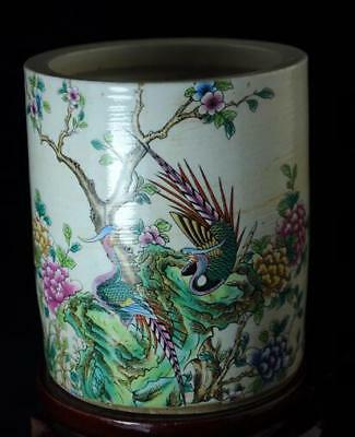 Chinese Old Pastel Porcelain Hand Painted Phoenix Brush Pot /hongde Mark C01