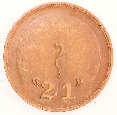 "Vintage The ""21"" Club New York Copper Token 107-27"