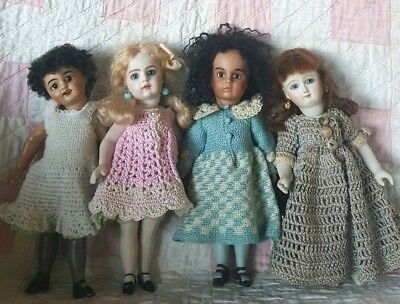 """FOUR  7.5"""" FRENCH BEBE BRU ALL BISQUE MULATTO MIGNONETTES w/PAPERWEIGHT EYES"""