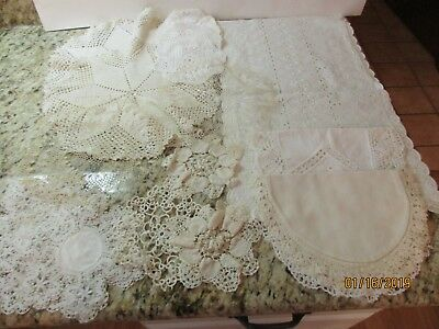 Vintage Doily & Table/Dresser Lot of 22 Crochet, Lace,  Eyelet, Some Handmade