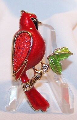 Red Bird Cardinal Pin Brooch-Glass Wing Design-Gold Tone-Signed Napier