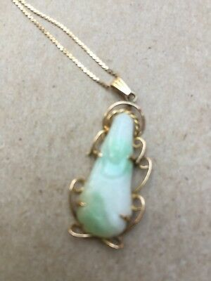 Vintage 14k Solid Gold Scrap Chinese Jade Jadeite  Pendant Necklace