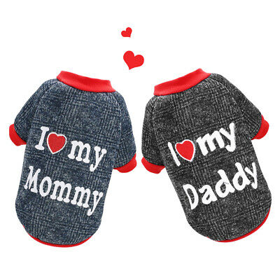 I Love Mummy Daddy Dog Sweater for Small Dogs Pet Puppy Jumper Clothes Yorkie