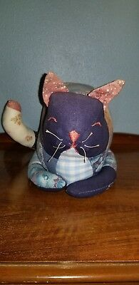 Vintage Handmade Stuffed Patchwork Quilted Cat,  Primitive Pillow Style
