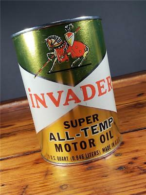 Vintage NOS FULL 1 QT. INVADER GOLD SUPER ALL TEMP. OIL CAN PHILLY, PA sign
